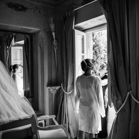 preparativi della sposa a Villa Scorzi