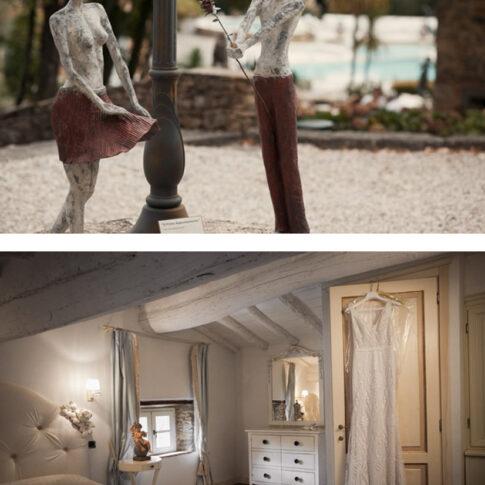statuetta sposi Valle di Badia, abito sposa appeso alla porta