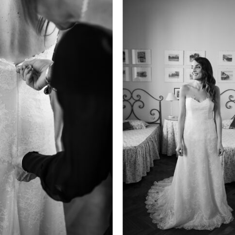 la madre chiude il vestito alla sposa